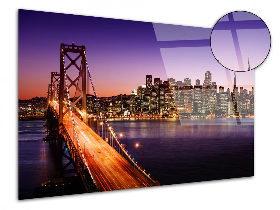 Tableau plexiglas coucher de soleil sur le pont de San Francisco