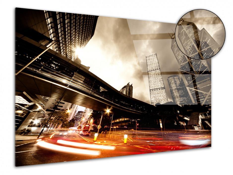 Tableau plexiglas photo pause longue sur le trafic urbain