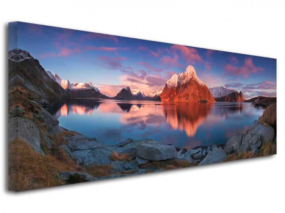 Tableau toile Reflet de montagne sur lac