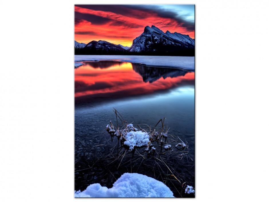 Tableau Auminium ciel en feu sur le lac de montagne