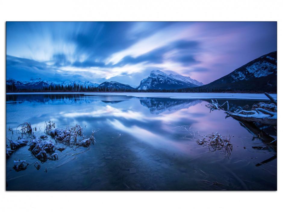 Tableau Auminium Sunset sur les montagnes Canadienne