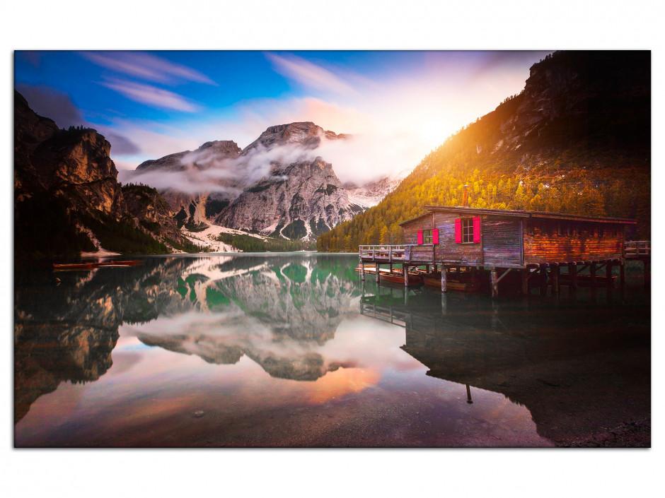 Tableau Auminium paysage Vue sur le lac de Braies