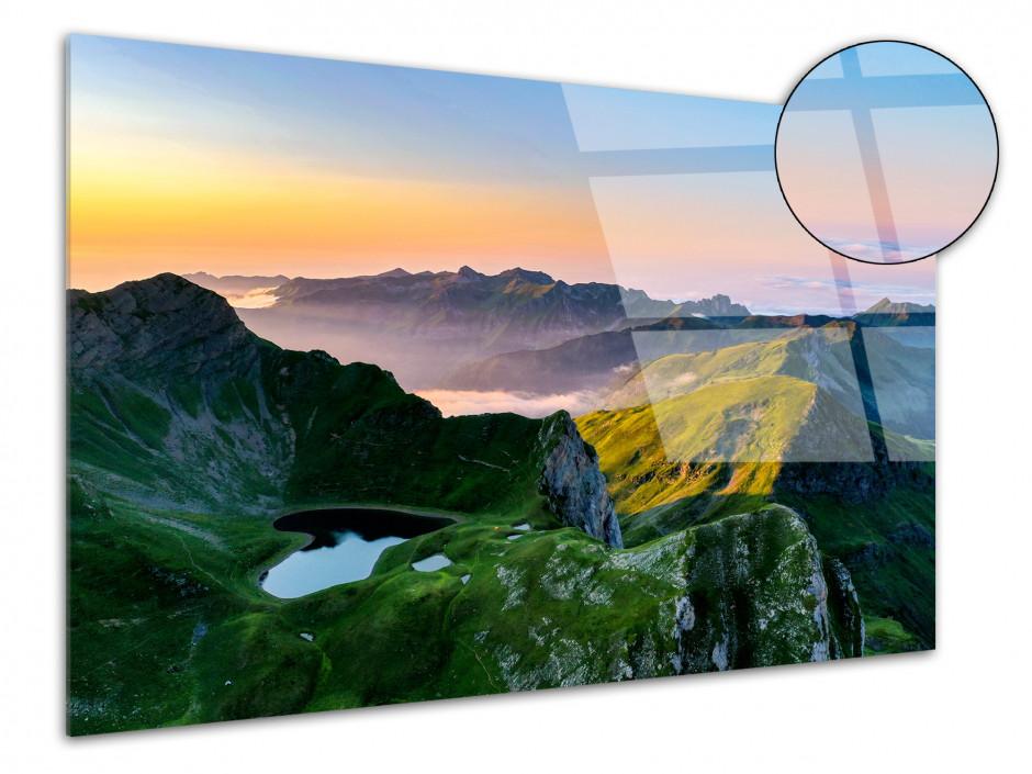 Tableau plexiglas coucher de soleil sur le montagnon