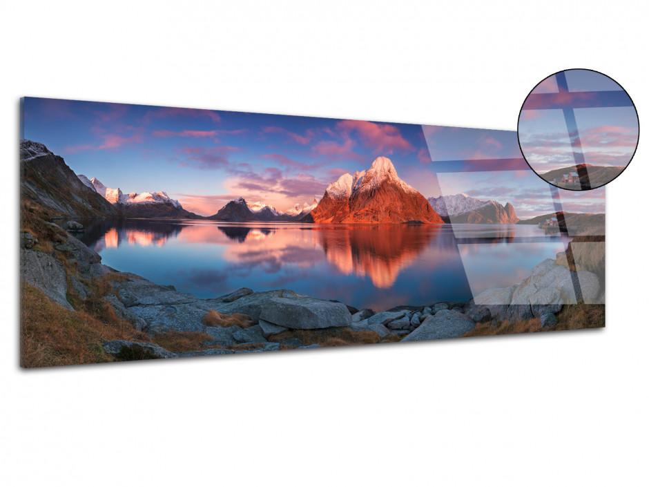 Tableau plexiglas Reflet de montagne sur lac