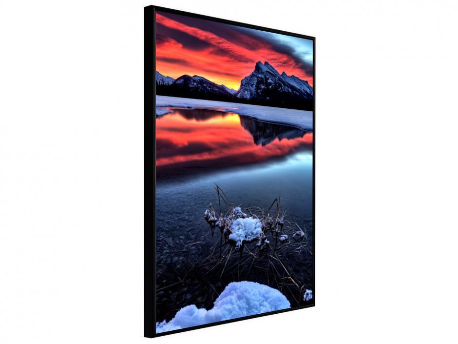 Affiche Poster Ciel en feu sur le lac de montagne