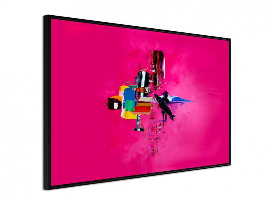 Affiche sous cadre Pink surf abstract
