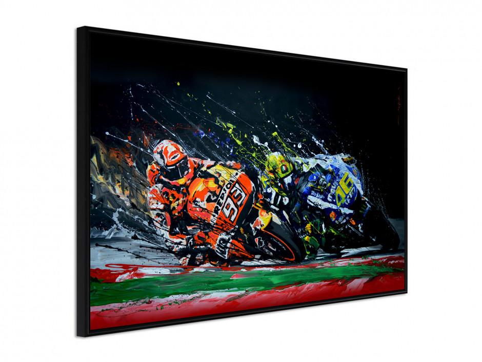 Affiche sous cadre Rossi vs Marquez