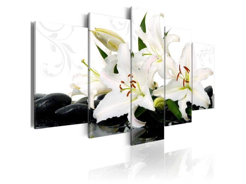 Tableau  Lilies and zen stones