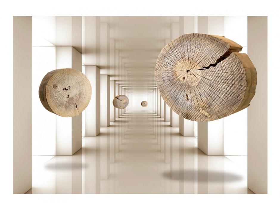 Papier peint  Cercles de bois volants