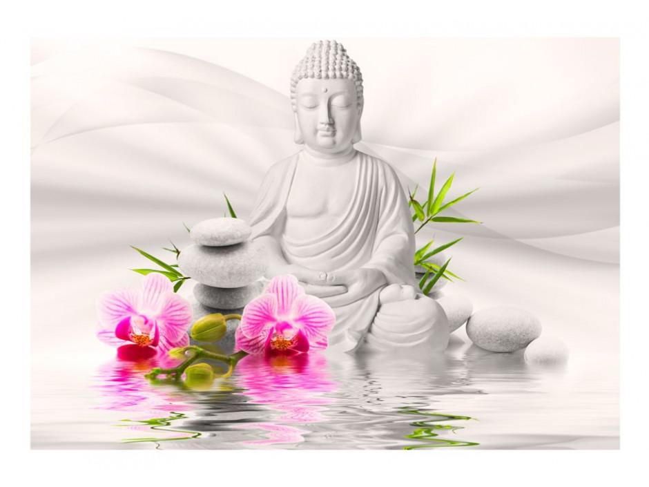 Papier peint  Bouddha et orchidées