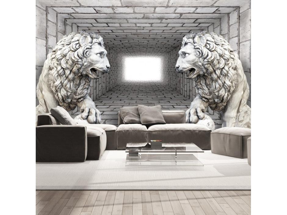 Papier peint  Lions de pierre