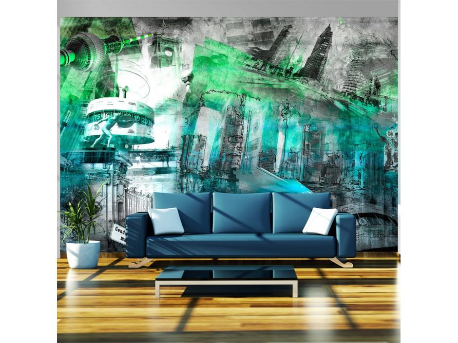 Papier peint  Berlin  collage (vert)