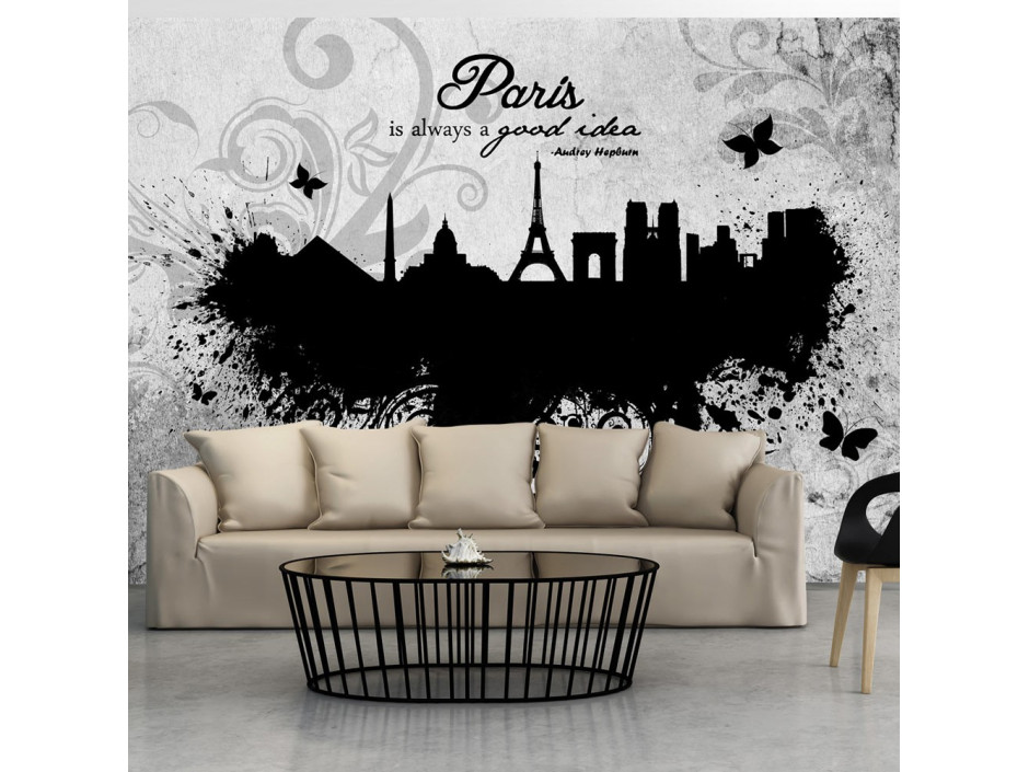 Papier peint  Paris is always a good idea  black and white