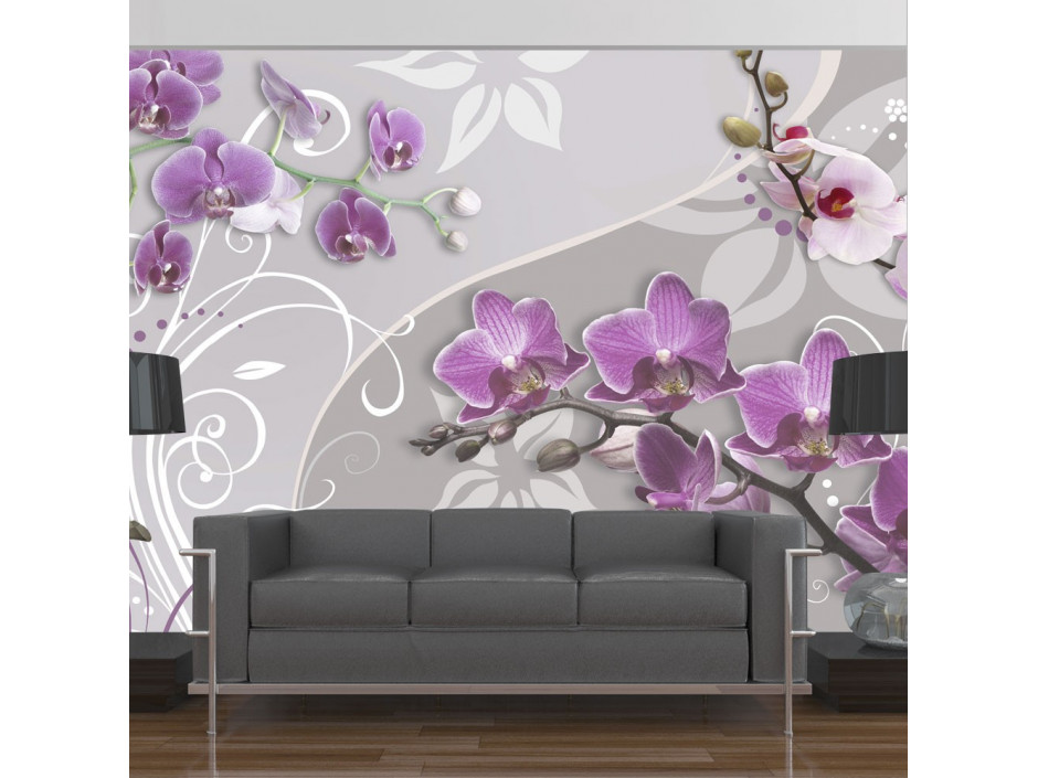 Papier peint  Flight of purple orchids