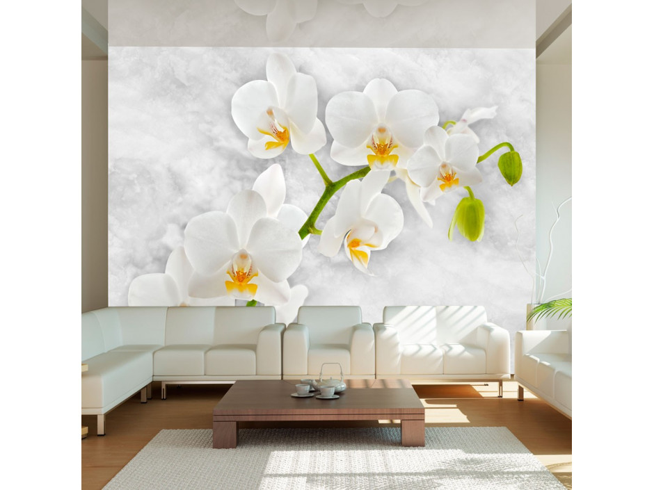 Papier peint - Lyrical orchid - White
