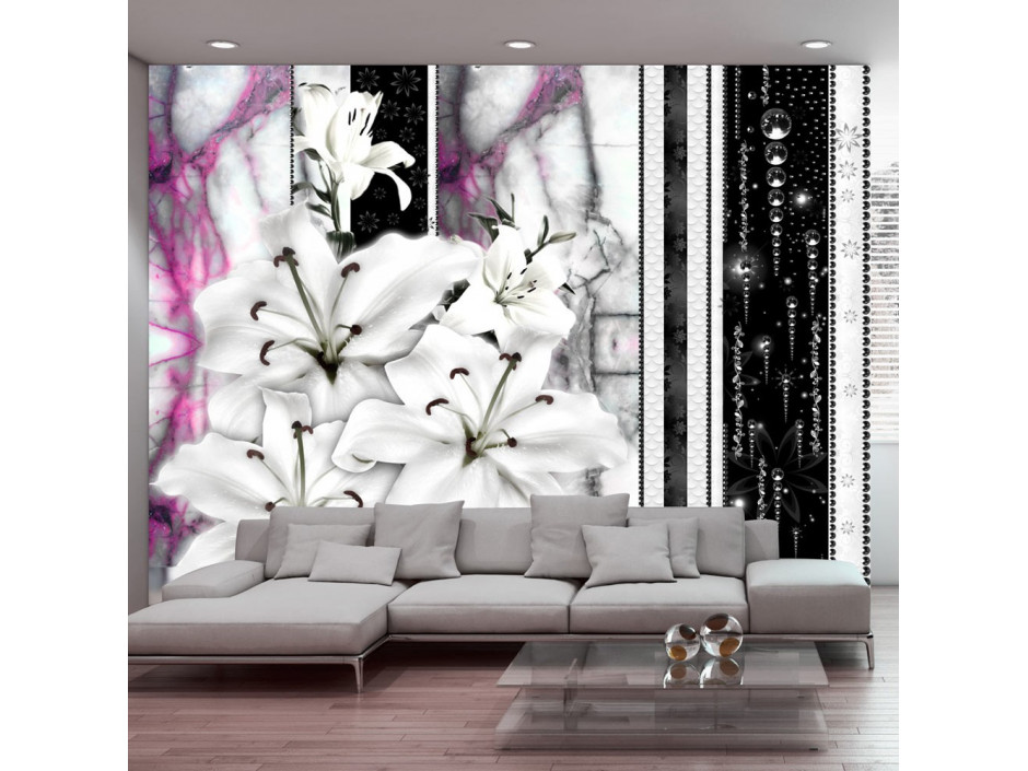 Papier peint  Crying lilies on purple marble
