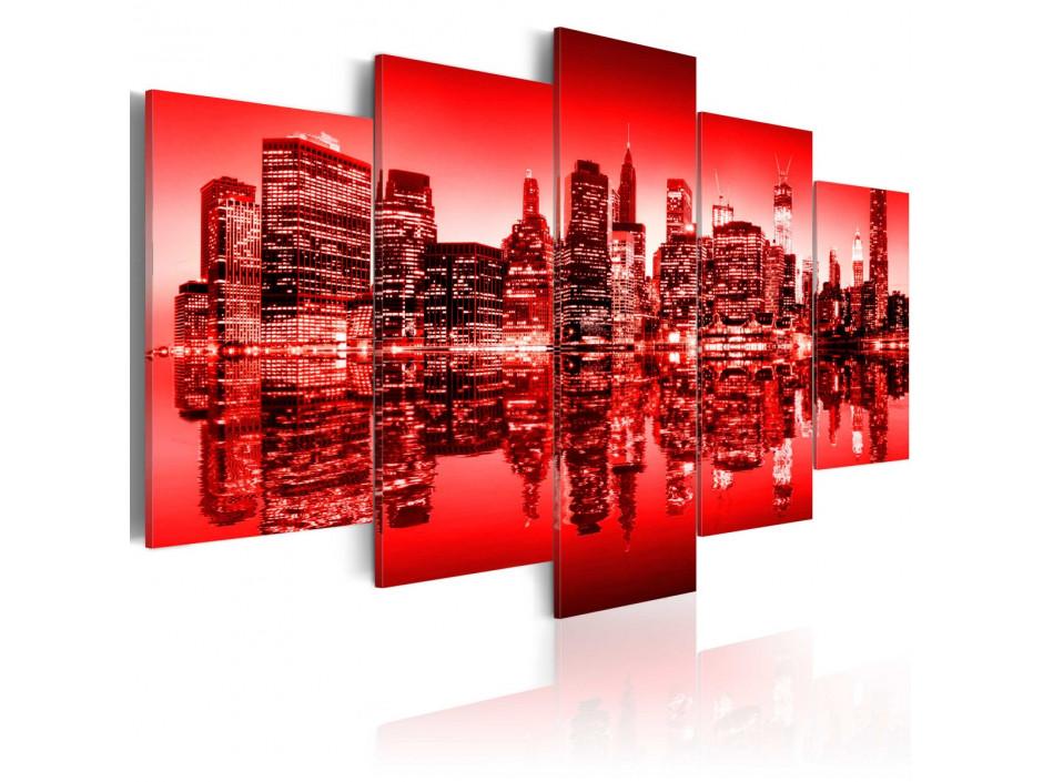 Tableau - Lumière rouge au-dessus de New York - 5 pièces
