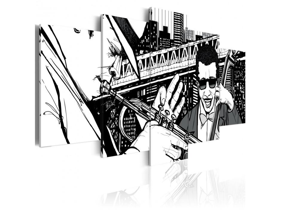 Tableau - Concert de jazz sur fond de gratte-ciels de New York - 5 pièces
