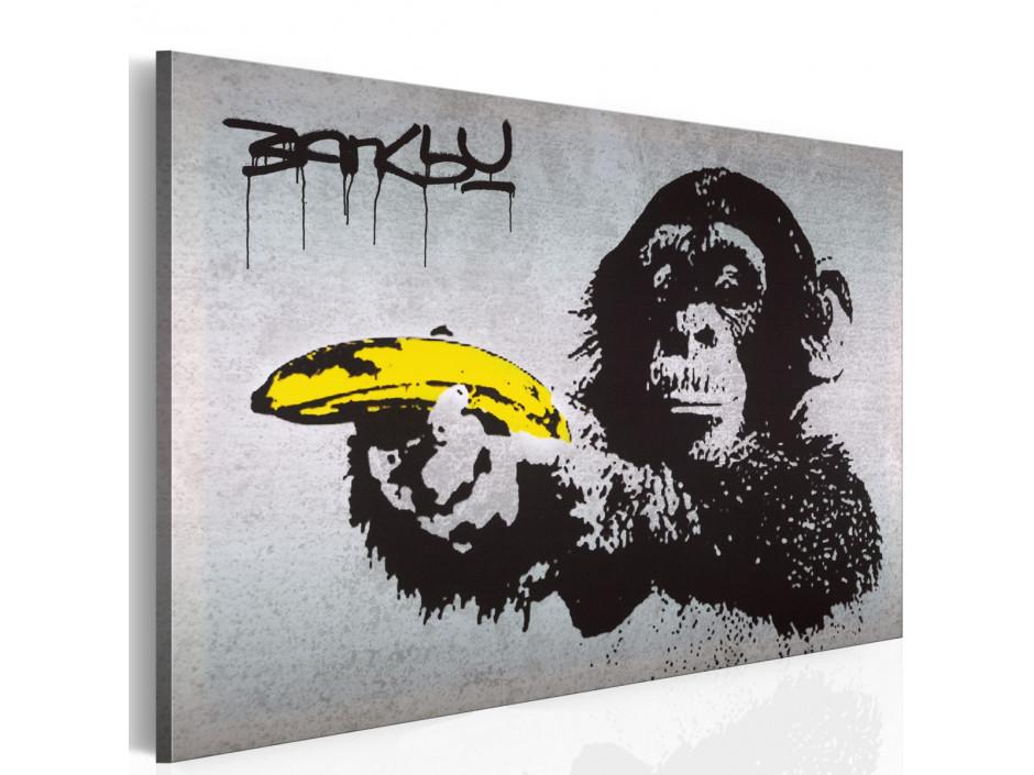 Tableau - Arrête ou le singe va tirer! (Banksy)
