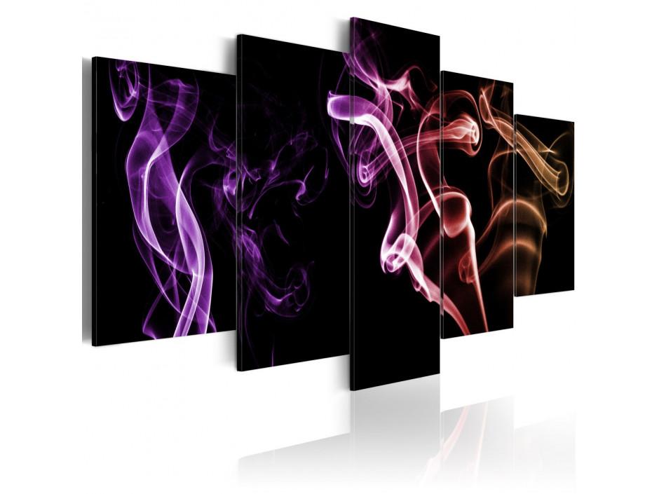 Tableau - Fumée colorée - 5 pièces