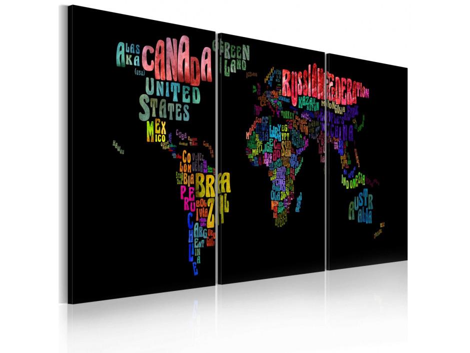 Tableau  Carte du monde  texte