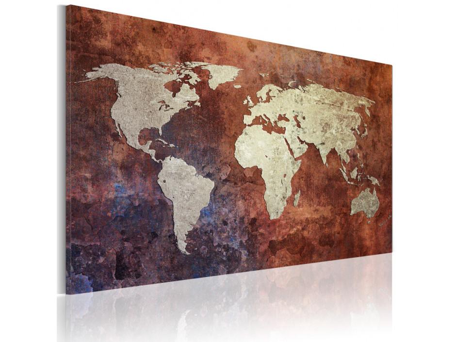 Tableau - Carte du monde dorée