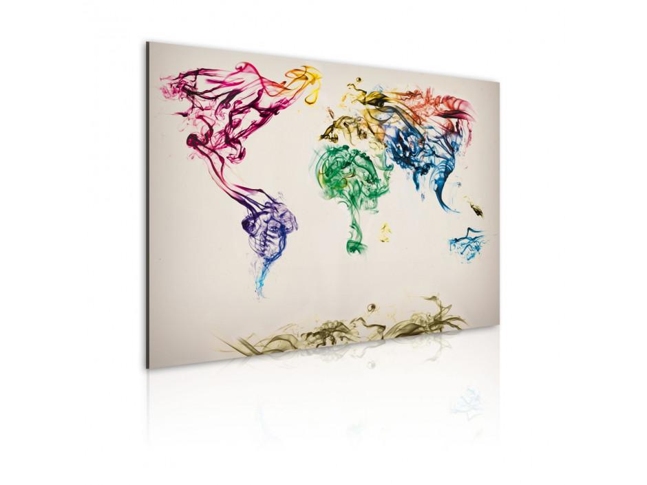 Tableau - Carte mondiale en fumée colorée