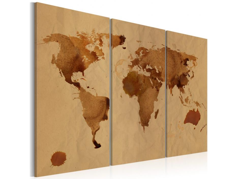 Tableau - Le monde peint avec du café - triptyque