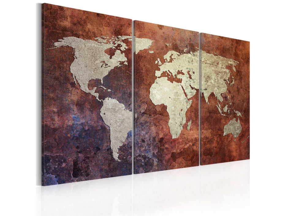 Tableau  Carte du monde dorée  triptyque