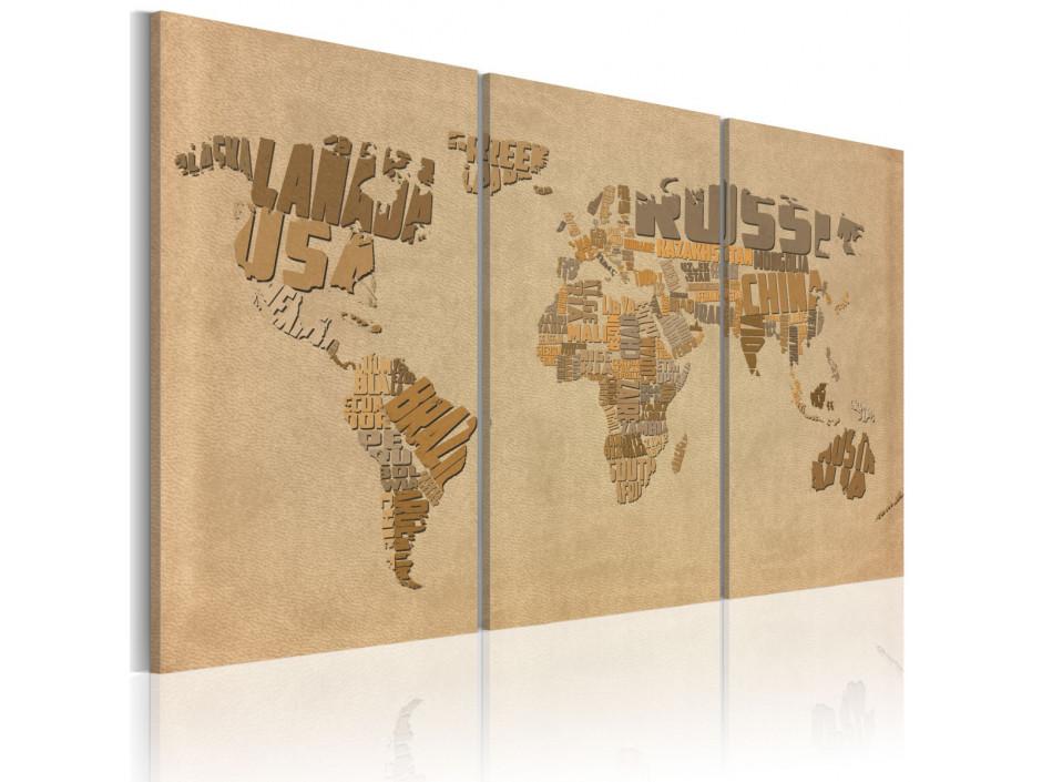 Tableau - Ancienne carte du monde - triptyque