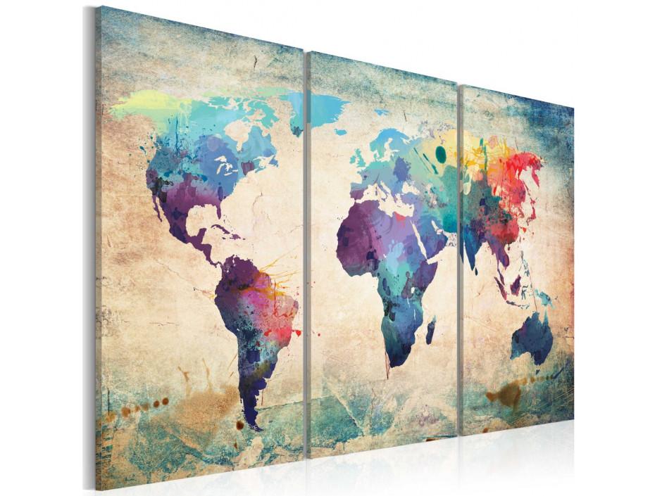 Tableau - Carte en couleurs de l'arc-en-ciel - triptyque
