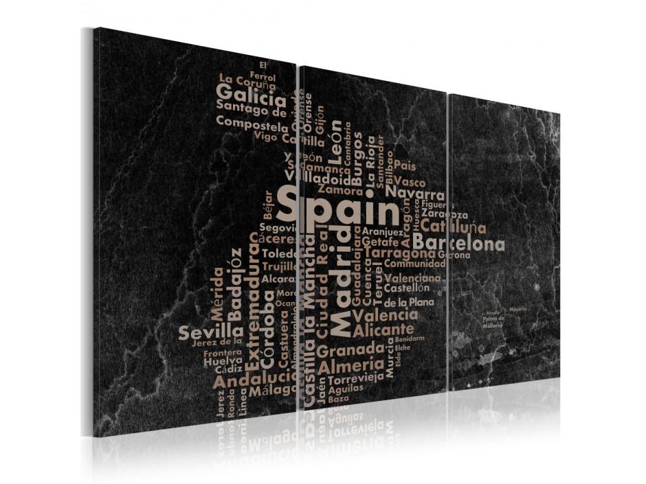 Tableau  Map of Spain on the blackboard  triptich