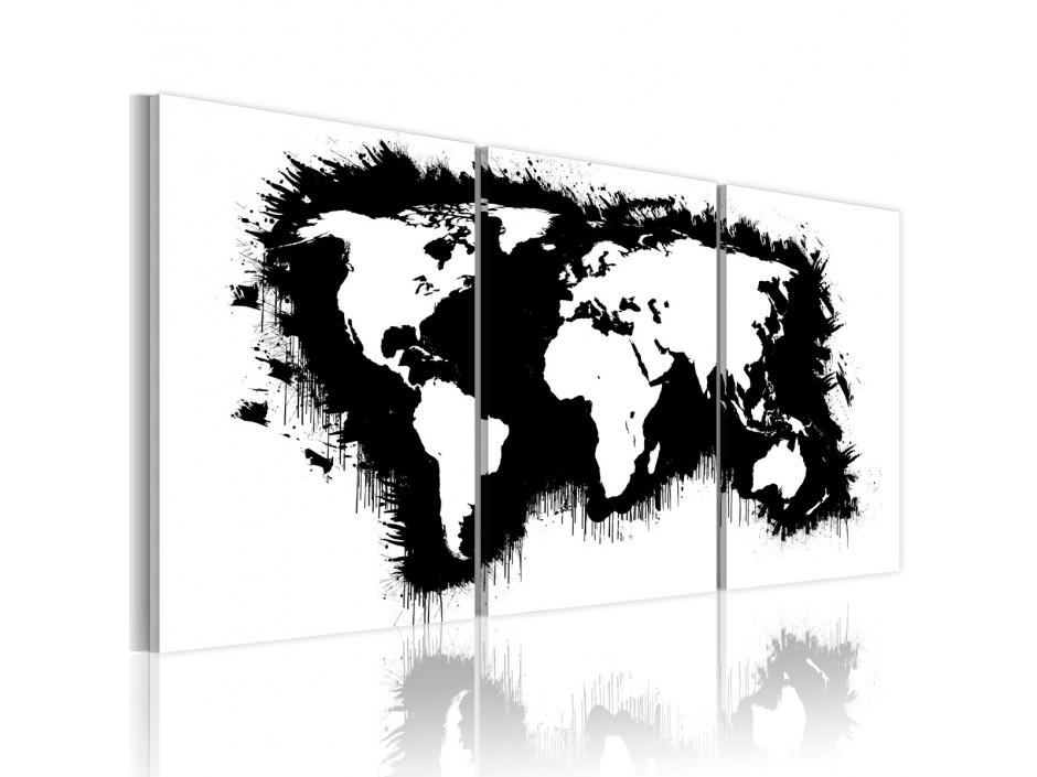 Tableau - Carte du monde en noir et blanc