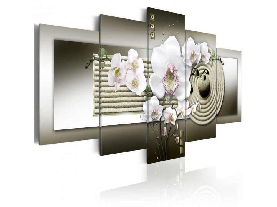 Tableau - Orchid and zen garden in grey