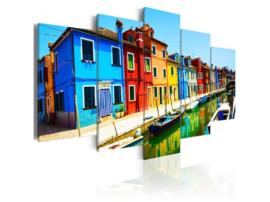 Tableau - Maisons aux couleurs de l'arc-en-ciel