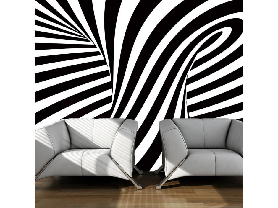 Papier peint  art optique noir et blanc
