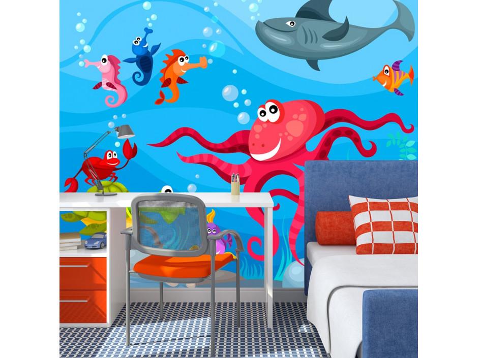 Papier peint  Poulpe et requin