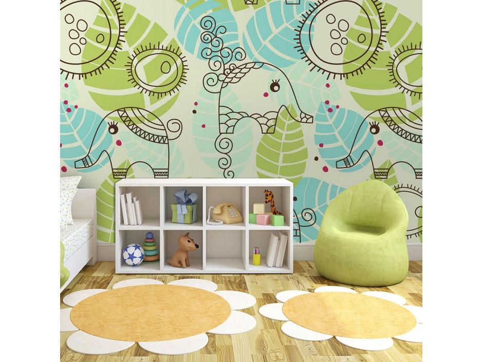 Papier peint  éléphants (pour enfants)