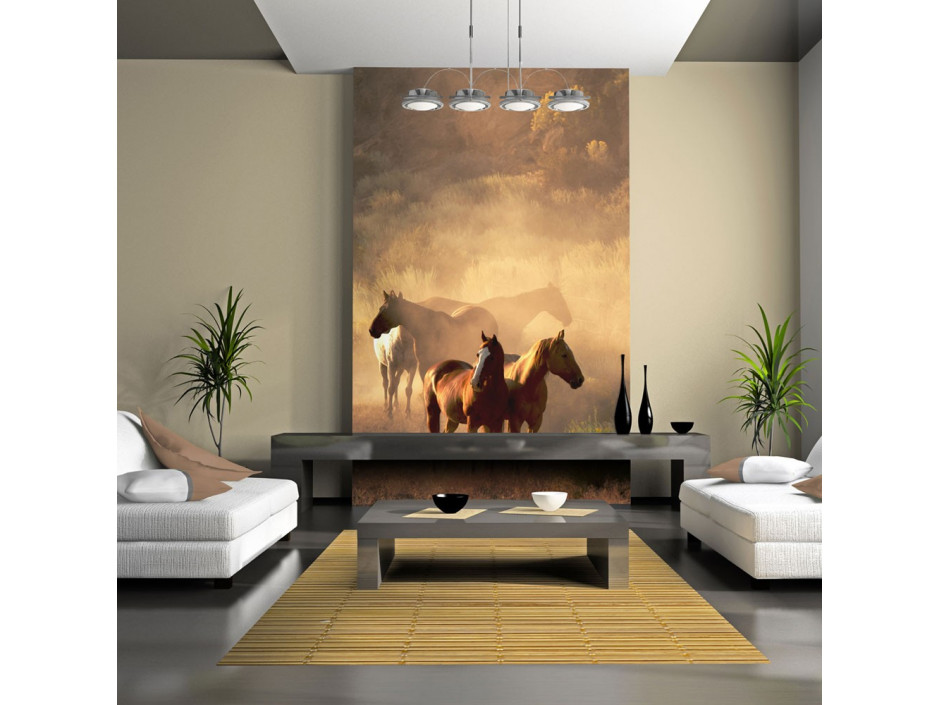 Papier peint  Chevaux sauvages en pleine steppe