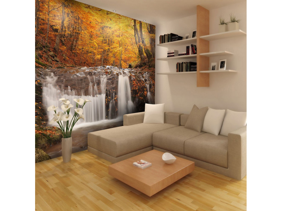 Papier peint  Autumn landscape  waterfall in forest