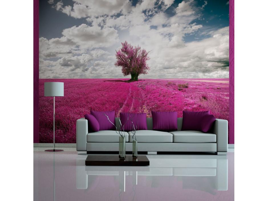 Papier peint  Prairie couleur fuschia