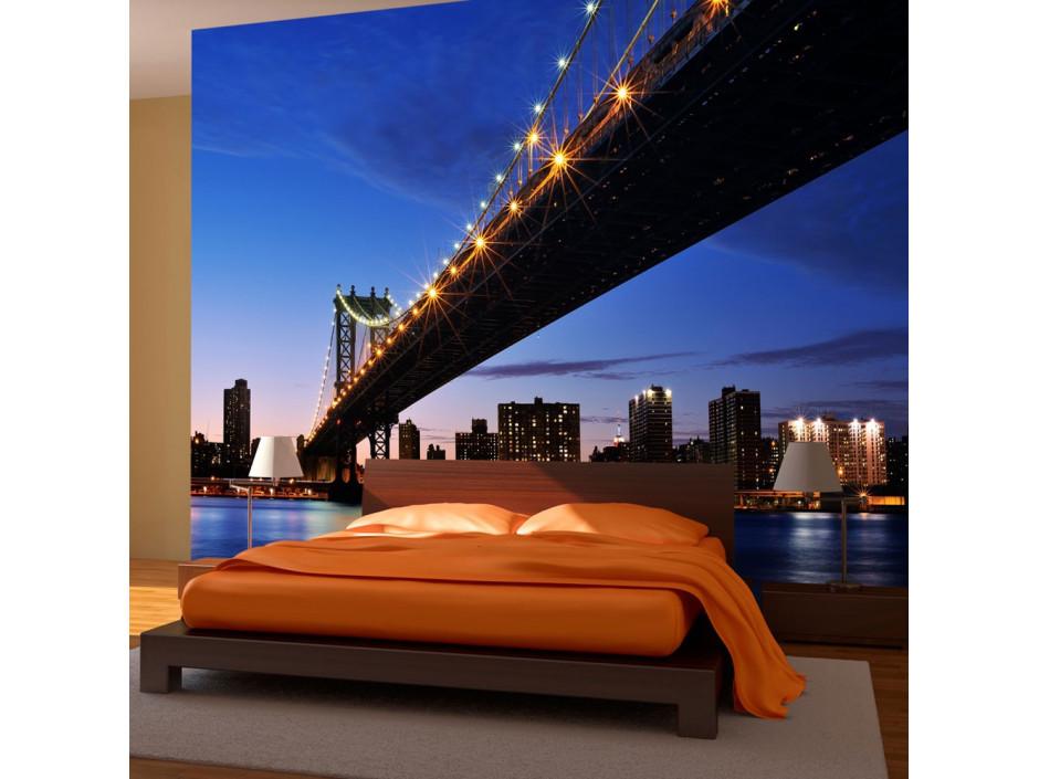 Papier peint - Manhattan Bridge illuminé la nuit
