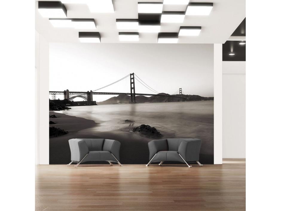 Papier peint San Francisco Golden Gate en noir et blanc