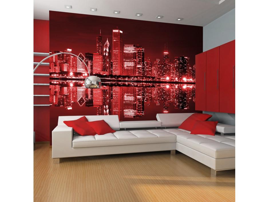 Papier peint  Chicago couleur du vin rouge