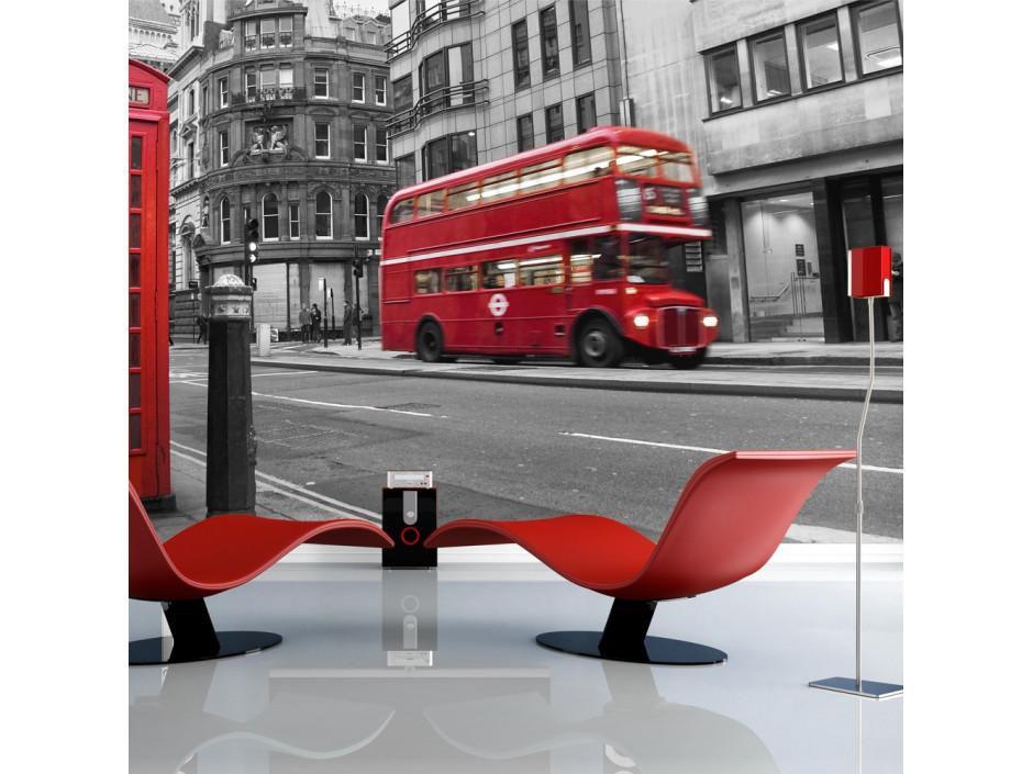 Papier peint  Cabine téléphonique et bus rouges à Londres