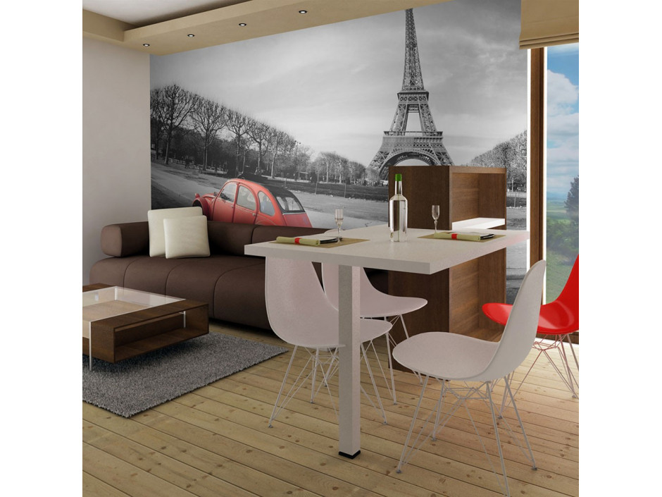 Papier peint  Tour Eiffel et voiture rouge