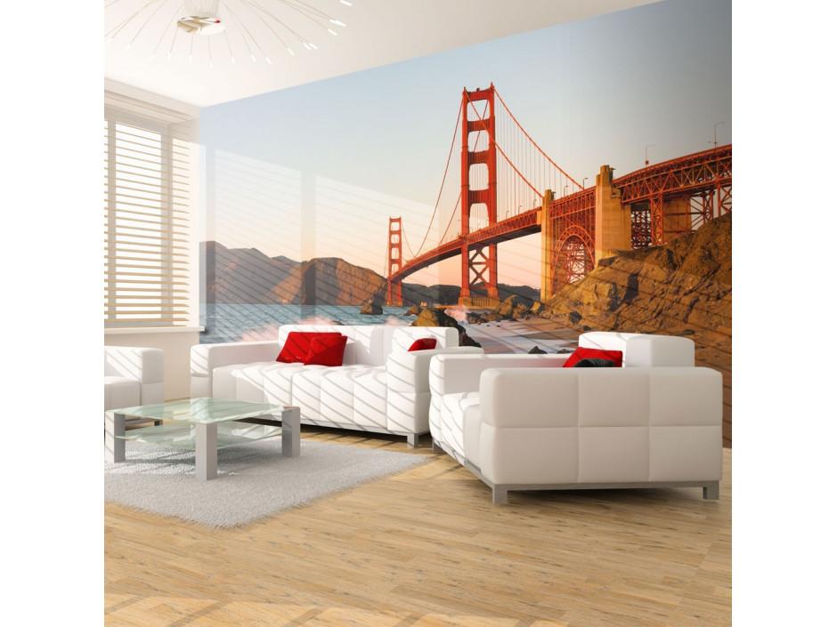 Papier peint Pont du Golden Gate coucher de soleil, San Francisco