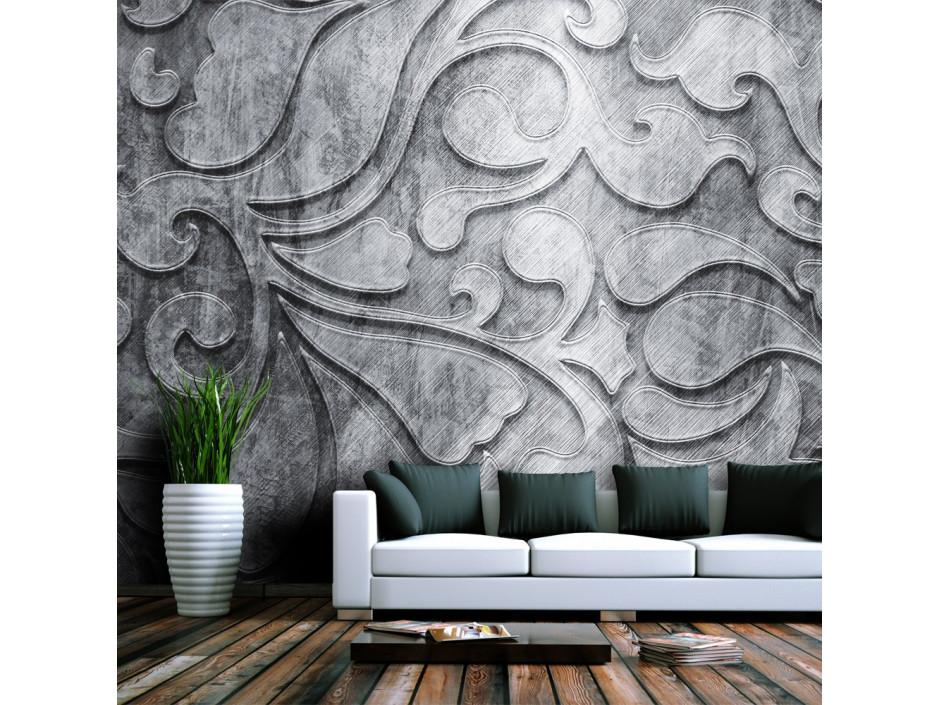Papier peint - Fond argenté avec motif floral