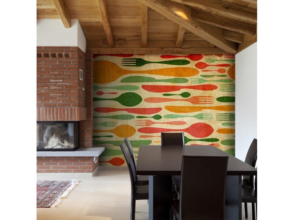 Papier peint  Couverts en vert et orange