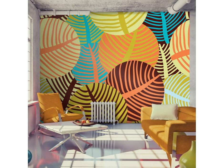 Papier peint - collage: feuilles